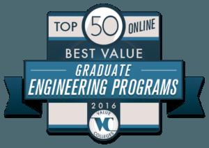 Top 50 Best Value Online Graduate Engineering Programs of 2016
