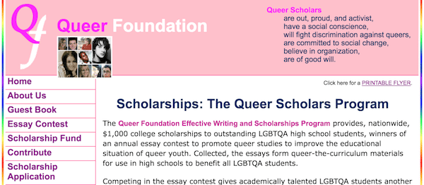 Apply Now  College Scholarships For  School Year  Queer Foundation High School Seniors English Essay Contest